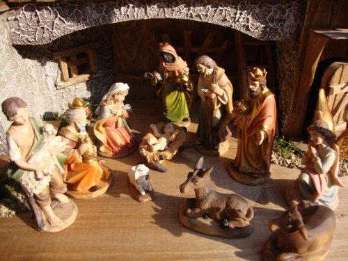 Sehr große PREMIUM Krippenfiguren 12 -tlg. SET, 15 cm schwere hochwertige Ausführung, feine Mimik, HANDBEMALT - FIGUREN für große Holz Weihnachtskrippe Zubehör, Design XXL Maria Josef Jesus Weihnachtsgeschichte aus Echtholz - Imitat KFX