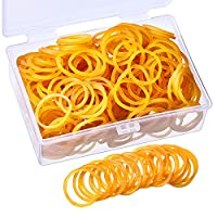 500 Pieces Rubber Bands Mini Elastic Rubber Bands 28 mm by 1.5 mm with Plastic Storage Box Office Home School Supplies