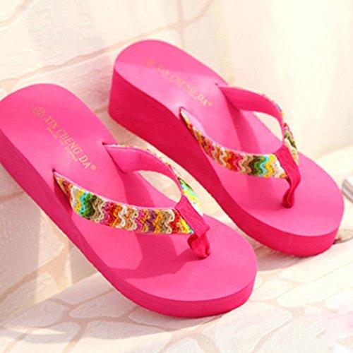 Donne Sandali infradito,Saingace donne di estate Colorful sandali della piattaforma del cuneo Beach piatto di patch Infradito Lady pantofole rosa caldo