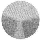 Leinen Optik Tischdecke Rund 180 cm Hellgrau · Rund Farbe & Größe wählbar mit Lotus Effekt - Wasserabweisend (R180HGrau)