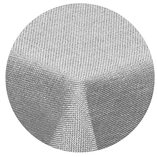Leinen Optik Tischdecke Rund 140 cm Hellgrau · Rund Farbe & Größe wählbar mit Lotus Effekt - Wasserabweisend (Große, Runde Tischdecken)