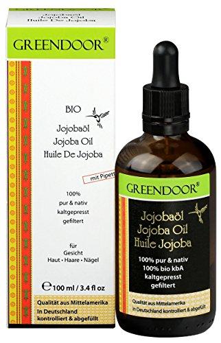 Greendoor REINES Bio Jojoba-öl mit Pipette 100ml pur nativ kaltgepresst natürlich Haaröl ohne Silikon, anti-aging Öl für Körper Haare Haut Nägel Gesicht Intimzone, Spitzenqualität Natur-Kosmetik