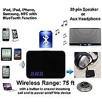 Bmrmusictechnology A2DP récepteur de musique Bluetooth 2en 1adaptateur pour enceintes Bose et tous les haut-parleurs, moto, stéréo de voiture avec dock 30broches et 3,5mm audio AUX Input- Extra longue portée sans fil jusqu'à 22,9m (nouveau modèle DEC/2014)