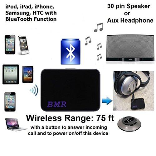 BMRMusicTechnology A2DP Bluetooth-Empfänger, 2-in-1-Adapter für Bose und andere Lautsprecher, geeignet für Motorrad, Auto mit 30Pin-Dock & 3,5mm-AUX-Audioeingagg, extra lange Funkreichweite bis zu 22,8m, Modell Dezember 2014 Ihome Ipod Dock