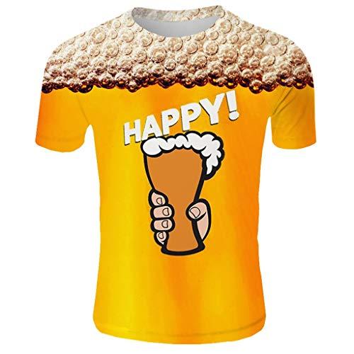 rts Bier 3D DruckBierfest München Muster Kurzen Ärmels Kurzarm Shirt Sport Fitness T-Shirt Lässige Graphics Tees Männer Fun Atmungsaktiv Schnell trocknend Kurzarm Top ()