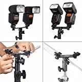 "SHOPEE Adjustable Double Flash Bracket Dual Shoe Speedlight Stand Umbrella Holder Light Stand Bracket Mount 1/4"" to 3/8''"