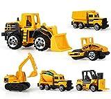 Mini Baustelle spielzeug 6er Set Fahrzeugset 3inch,TQP-CK Kunststoff Spielzeugauto Schaufellader Radlader Dumper Vibrationswalze Gabelstapler Fahrmischer ab 3 Jahren