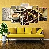 Zuhause Wandkunst Bilder Leinwand HD-Drucke Poster 5 Stück Kaffeetasse Bohnen und Kaffee Aroma...