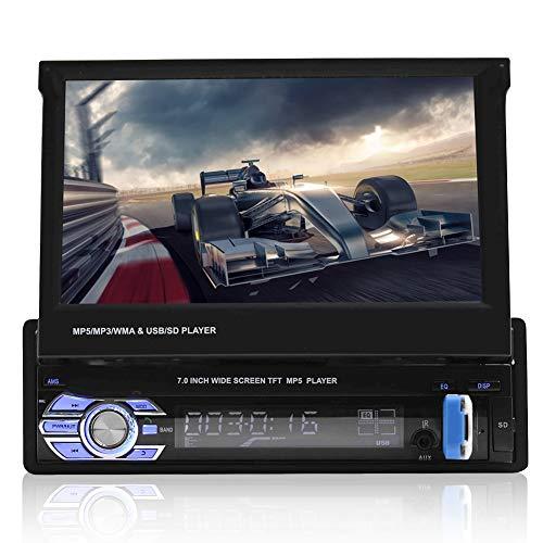 VBESTLIFE Autoradio Bluetooth GPS, Radio Stéréo avec 7 Pouces Écran Tactile Auto Rétractable, Support Lecteur de Musique/Vidéo/Radio, avec Caméra Compatible avec Clé USB, Disque Dur Mobile, etc