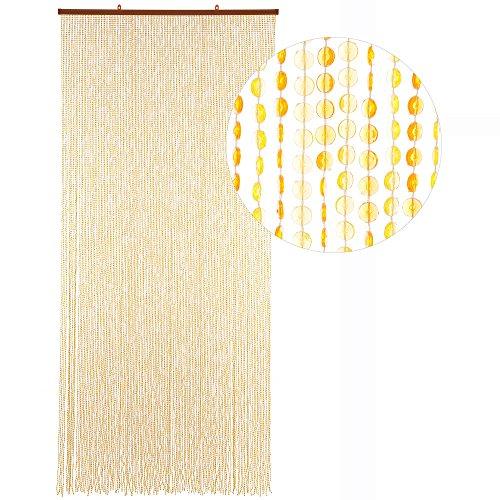 HAB & GUT -DV0244- Türvorhang Mini-DIAMANTEN, GELB/ORANGE, 90x200 cm sehr dicht, Insektenschutz Perlen Pailettenvorhang