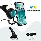 Cargador Inalambrico para Coche de Carga Rápida QI, 3-en-1, Soporte de Móvil + Soporte de Ventilación de Aire + Ventosa para el Parabrisas, Ideal para Smartphone - Android y iOS, USB Cable Incluido, Color Negro