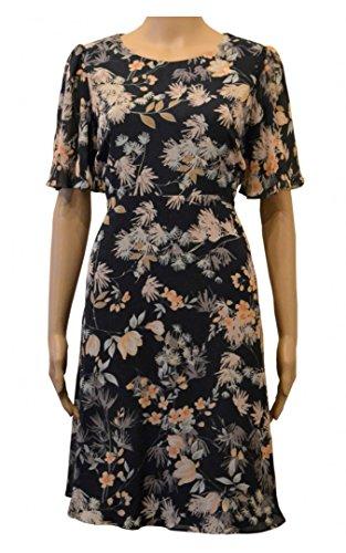 marks-spencer-floral-print-navy-blue-chiffon-fit-flare-tea-dress-size-18