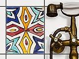 creatisto Bad Küche Fliesenfolie Sticker Aufkleber | Dekorfliesen Küchenfliesen Fliesenposter Innendekoration | 20x25 cm Muster Ornament Spanish Tile 4-1 Stück