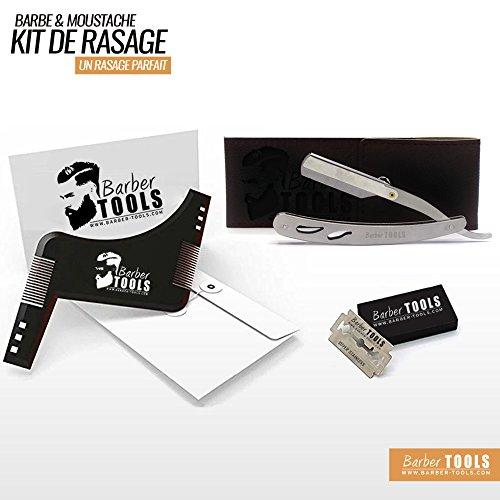 ✮ BARBER TOOLS ✮ Kit de rasage - acier inoxydable + 5 doubles lames + Peigne pochoir guide pour rasage