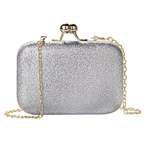 1 Silber-handtasche (Wafly Clutch Glitzer Silber, Leder Kettentasche Handtasche Abendtasche Damen Crossbody Tasche Umhängetasche für Valentinstag Party Hochzeit Mädchen, Telefon bis zu 5.1'')