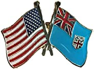 Backwoods Barnaby USA American Crossed Friendship Flags Lapel Pin