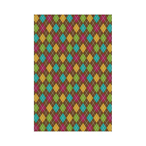 gthytjhv Geometric Bold Aryle Pattern Colorful Squares Dotted Lines Autumn Colors Checkered Design House Garden Family Event Decoration