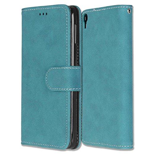 Alcatel One Touch Idol 3 (5.5) Hülle, Chreey Matt Leder Tasche Retro Handyhülle Magnet Flip Case mit Kartenfach Geldbörse Schutzhülle Etui [Blau]