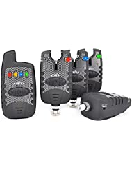 Hirisi Tackle Lot de 4détecteurs de touches sans fil étanches pour la pêche à la carpe avec récepteur