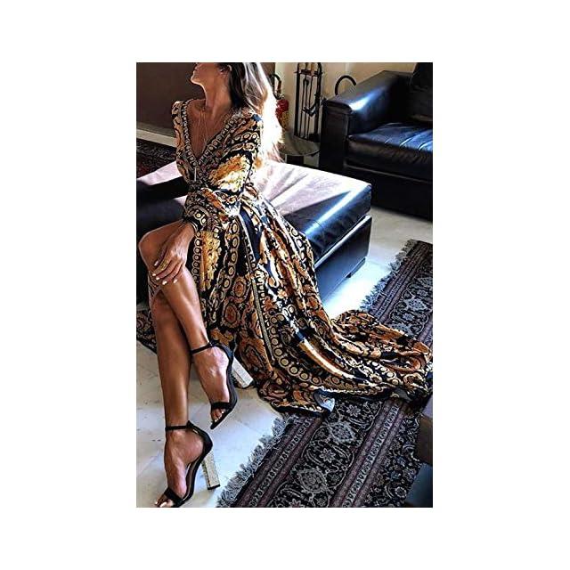 295a1071c5e ... Sevozimda Femmes Cocktail Robes Bohème À Manches Longues Floral Automne  Parti Maxi Robe. Vêtements   Sevozimda