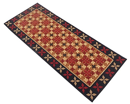 Yellow Weaves Red Floral Nylon Bedside Runner - 22 inches x 55 inches, WI409