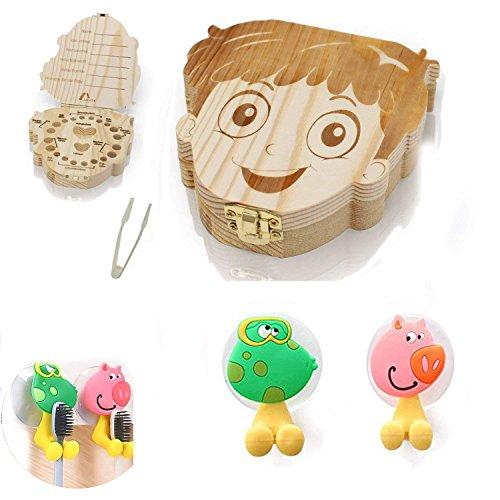 Preisvergleich Produktbild U&X Zahndosen Milchzähne Box und 2 Stück Cartoon Tiere Zahnbürstenhalter mit Saugnapf