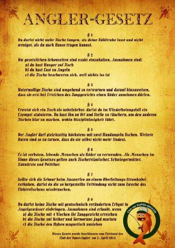"Urkunde Poster ""Angler-GESETZ"" ca. 40 x 60 cm"