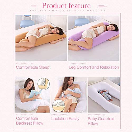 Soddyenergy Cuscino di maternità, Cuscino di Sostegno per Le Donne Incinte Corpo Federa 100% Cotone a Forma di U maternità Cuscini Gravidanza Chi Dorme sul Lato Purple