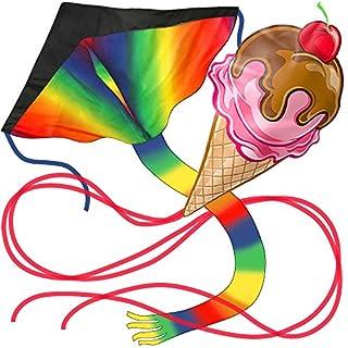 aGreatLife® Riesiger Regenbogen Lenkdrachen Plus Kinderdrachen im Eiscreme-Design - Beide Flugdrachen sind leicht montiert für doppelten Spaß und Abenteuer zum Drachensteigen mit der ganzen Familie