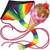 AGREATLIFE Huge Rainbow and Ice Cream Kite: Giant Kites Bundle with...
