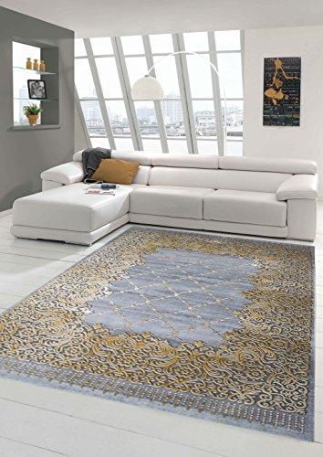 Alfombra alfombra diseñador contemporáneo sala de estar frontera alfombras y adornos alfombra pelo corto con el contorno de corte crema de mostaza gris Größe 120x170 cm