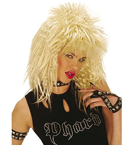 NET TOYS Star Perücke Rocker Pop Girl Kiss blond Karneval Rockerperücke Damen Fasching Damenperücke