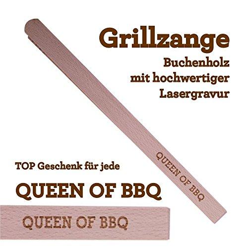 Grillzange Aus Holz Mit Hochwertiger Gravur Queen Of Bbq