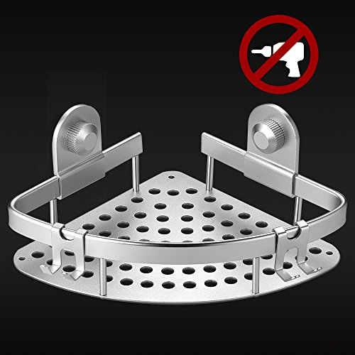 Ecooe mensola ad angolo in lega d'alluminio per bagno e doccia organizer con pratici ganci installazione senza fori
