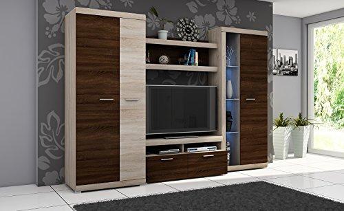 Wohnwand ALVARO I, Anbauwand, Wohnzimmer Möbel, mit Beleuchtung