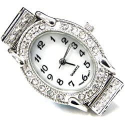 Linpeng Internationa Watch Face Frame, 24 by 30mm, Silver with Rhinestone Edge