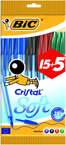 Bic cristal soft punta media 1,2 mm confezione 20 penne colori assortiti
