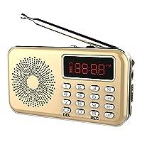 iMinker Upgraded Mini Digital Portable FM Radio Media Speaker MP3 Music Player Voice Recorder (Gold)