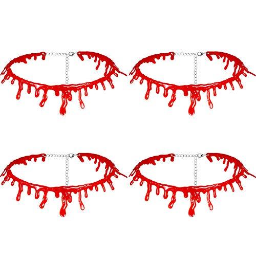 Chuangdi 4 Packung Tropfender Blut Choker Halloween Blutige -