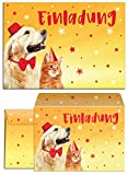 JuNa-Experten 12 Einladungskarten incl. 12 Umschläge zum Kindergeburtstag für Mädchen Jungen Jungs Hund und Katze / Geburtstagseinladungen Einladungen Geburtstag Set
