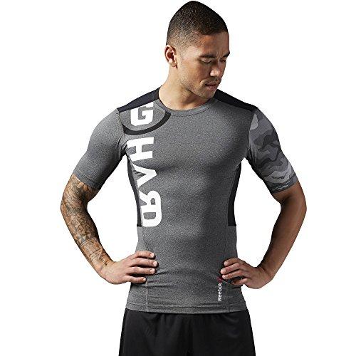 Compression Series One Reebok (Reebok Herren T-Shirt One Series Pw3R Short Sleeve Compression Top, Dark Grey Heather, S, AJ0816)