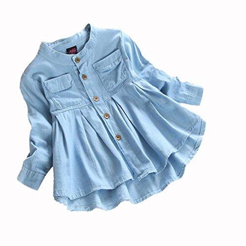 der Kinder Jeanskleider Denim Kleider mit Knopf Kinder Sommer Jeanskleid Beiläufige Rundhals Langarm Lose Knielang A-Linie Denim Prinzessin Kleider (Blue, 135-140CM 7Jahre) (Mädchen Mit Langem Kleid)