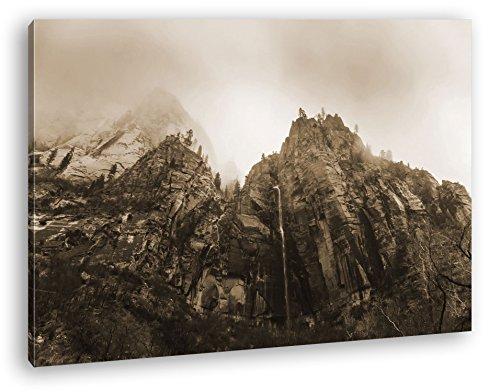 Berge im Zion Nationalpark Utha Format: 80x60 Effekt: Sepia als Leinwand, Motiv fertig gerahmt auf Echtholzrahmen, Hochwertiger Digitaldruck mit Rahmen, Kein Poster oder Plakat (Jersey Felsen New)