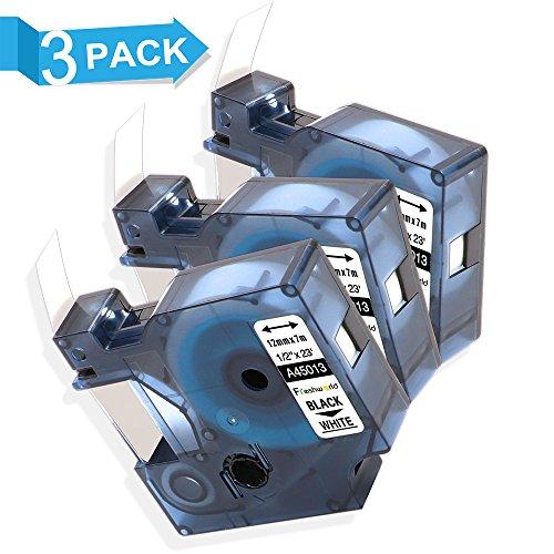 3 Schwarz auf Weiß Etikettenband Kompatibel für Dymo D1 S0720530 45013 12 mm x 7 m für Drucker Dymo LabelManager 120P 160 210D 260P 280 350 360D 420P LabelPoint 150 200 250 350 LabelWriter 450 Duo