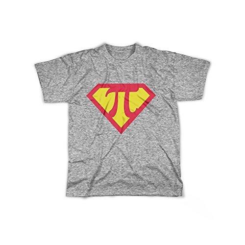 licaso Männer T-Shirt mit Aufdruck in Grau Gr. XXL PI Superheld Logo Design Boy Top Jungs Shirt Herren Basic 100% Baumwolle Kurzarm