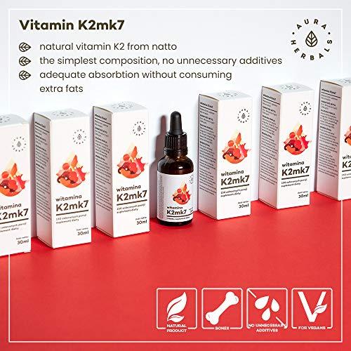 AURA HERBALS® Vitamin K2 900 Tropfen – Flüssig 30ml – 200µg – Natürliches Produkt 100% – Natto – Vegan – Hochdosiert – Hohe Bioverfügbarkeit – Einfache Komposition – in