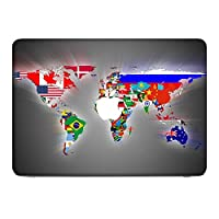 Stuff 10043, World Map, Skin Sticker Decal Protective Cover Vinyl with Leather Effect Laminate and Colorful Design for Apple MacBook 12""