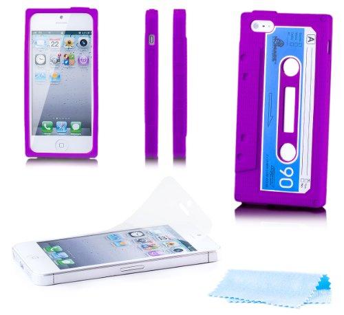 Apple iPhone SE / 5S / 5 | Caso iCues Cassette Blu | [Protezione dello schermo compresa] bossolo nastro guscio protettivo di protezione della copertura dellinvolucro Custodia Cover Case Tasca Borsa Lilla