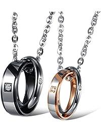 Jewow Schmuck Edelstahl Verliebte Paar Halskette Anhänger mit Gravur Versprechen für Sie und Ihn