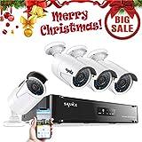 SANNCE Kit de 4 Cámaras de Vigilancia Seguridad 1920 x 1080P CCTV NVR P2P 4CH 1080P y 4 Camaras 2MP IP66 Impermeable IR-Cut HDMI 36 LEDs No Disco Duro incluido